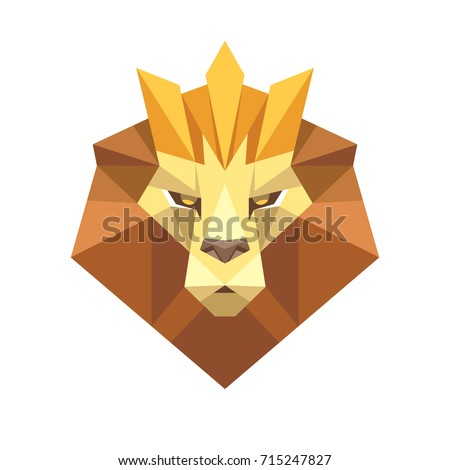 Geometric Low Polygon Style Lion Face Head With Crown Logo Icon Origami