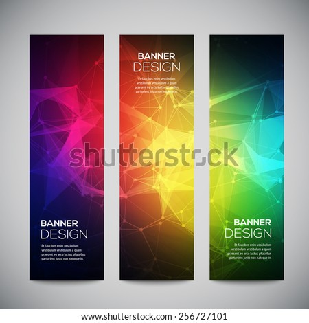 Geometric, lowpoly, abstract modern vector banners set with polygonal background. Molecule And Communication Background. Connection structure. Vector science background. Polygonal vector background. - stock vector