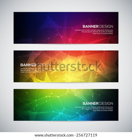 Geometric, lowpoly, abstract modern vector banners set with polygonal background. Molecule And Communication Background. Connection structure. Vector science background. Polygonal vector background.
