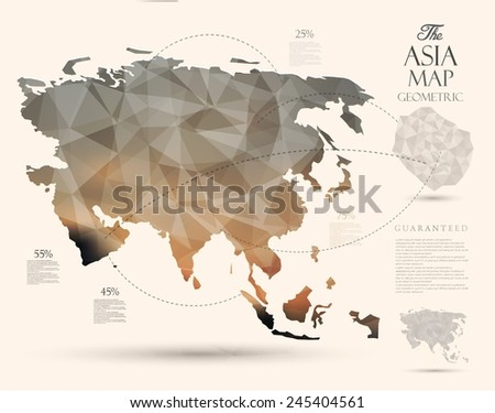 Geometric map elements-continents-3d-geometric-Asia - stock vector