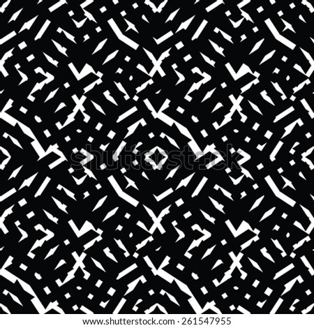 Geometric messy lined seamless pattern, monochrome vector endless background. Decorative expressive motif texture. - stock vector