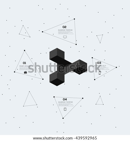 Geometric Modern Infographics connected lines and dots   - stock vector