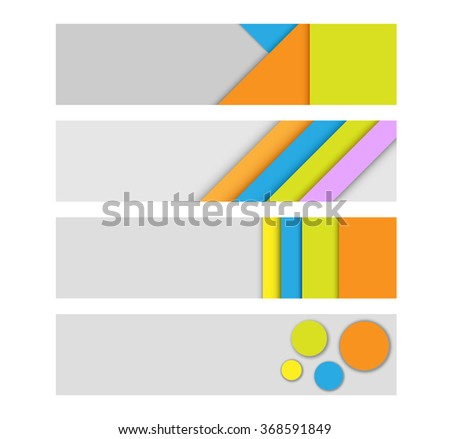 Geometric modern vector headers. Simple colorful paper banners - stock vector