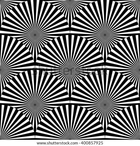 Geometric monochrome pattern with overlapping circles containing radial, radiating lines.