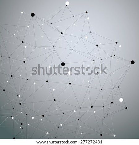 Geometric monochrome polygonal structure with lines mesh, modern science and technology element. - stock vector