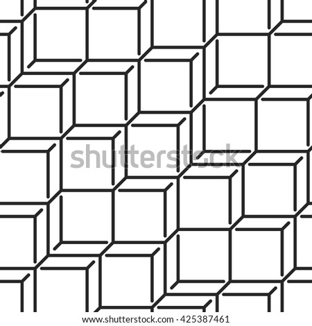 Geometric monochrome seamless vector pattern. Endless black and white isometric texture. Abstract wallpaper with chaotic grid of cubes on white background