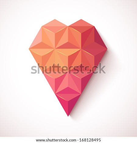 Geometric Mosaic Heart for Valentines Day Design. Valentines day card on white background.EPS10. - stock vector