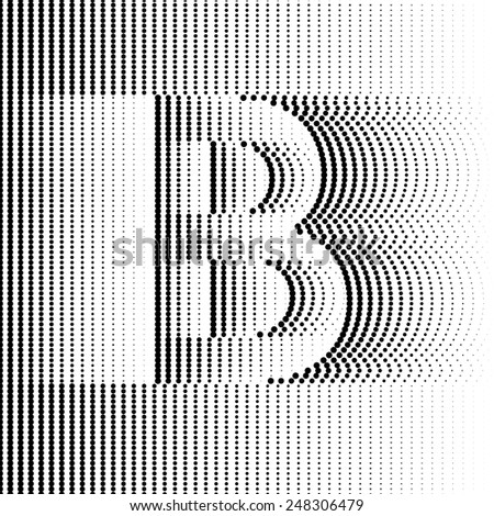 Geometric Optical Illusion Letter B - stock vector