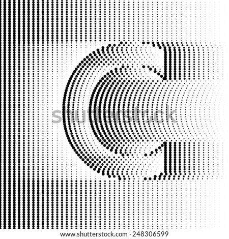 Geometric Optical Illusion Letter C - stock vector
