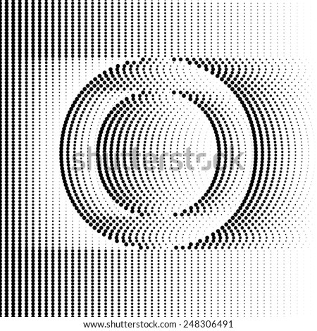 Geometric Optical Illusion Letter O - stock vector