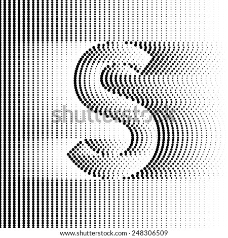 Geometric Optical Illusion Letter S - stock vector