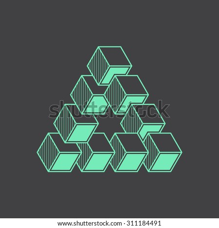 Geometric optical illusion, vector illustration, line design element, cubes - stock vector