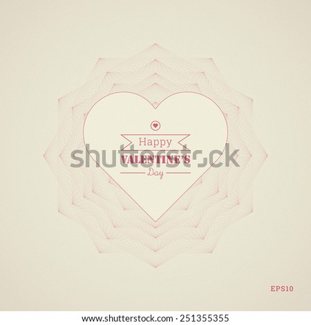 Geometric, ornamental text box with heart shape for valentine's day greeting, web page, brochure, banner - yellow, pink version - stock vector