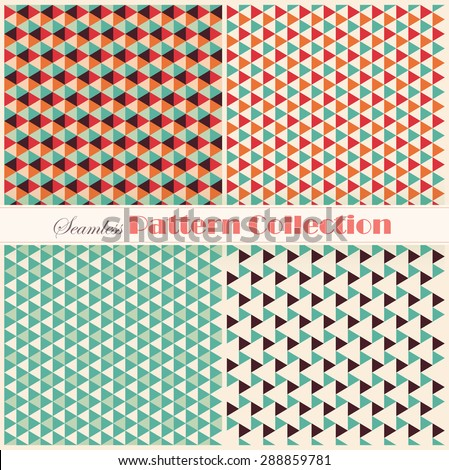 Geometric pattern collection A set of four seamless pattern in a retro collection - stock vector