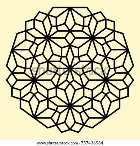 Geometric Pattern Decorative Elements For Stained Glass Windows Coloring Book Page Mandala