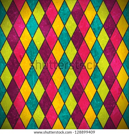 Geometric pattern made of rhombuses in various bright colors overlaid with grunge elements and scratches to give it an aged and distressed feeling. - stock vector