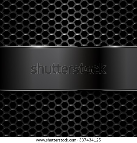 geometric pattern of hexagons with black metallic banner - stock vector