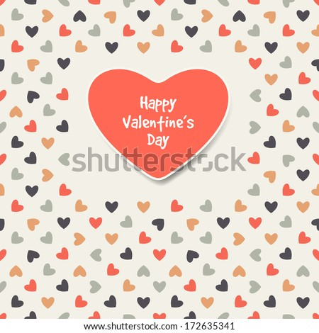 Geometric pattern. Polka dot with hearts. Vector repeating texture - stock vector