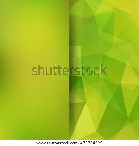 Geometric pattern, polygon triangles vector background in green tones. Blur background with glass. Illustration pattern