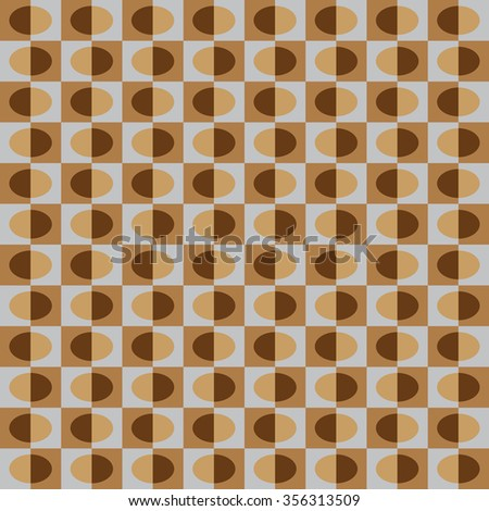 Geometric pattern with brown semicircles on grey background