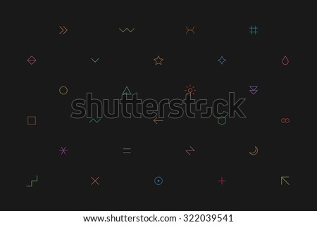 Geometric pattern with different simple signs in thin style. Dark gray horizontal background. Yellow, orange, red, brown, green, blue, purple, violet colors. Web design element in vector 8 EPS - stock vector
