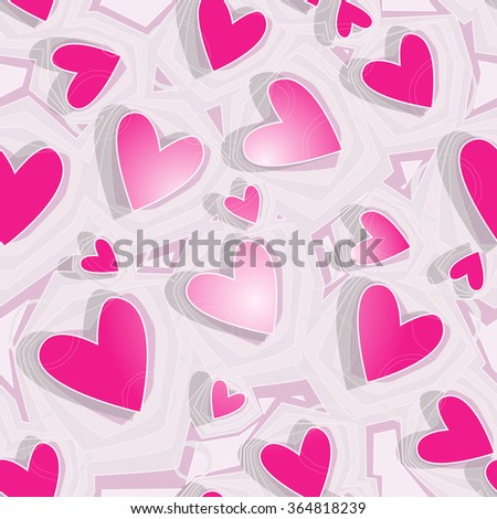 Geometric pattern with hearts. Vector.