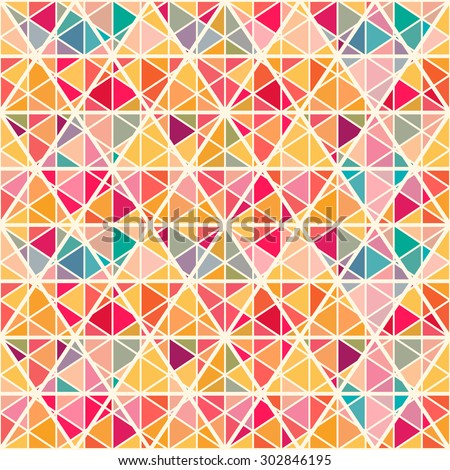 Geometric pattern with saturated colorful triangles and crossed lines. All colors of  rainbow. Eps 10. Endless texture can be used for wallpaper, web background, wrapping, packaging etc. - stock vector