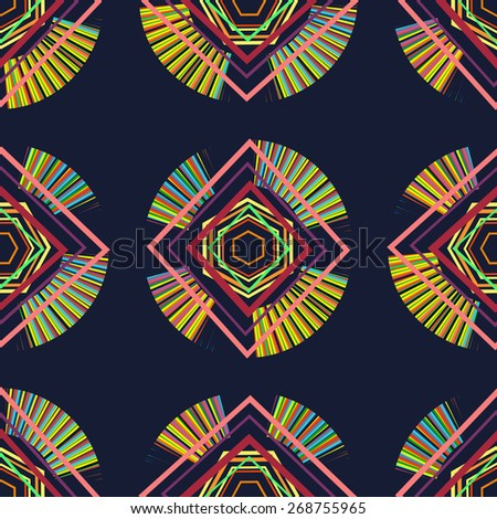Geometric patterns on a dark blue background.  Seamless. - stock vector