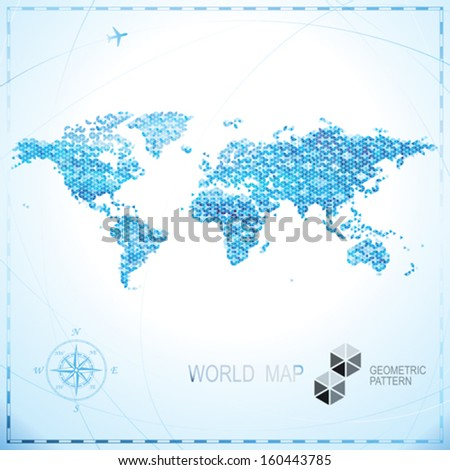 Geometric pixel shape World map background. - stock vector