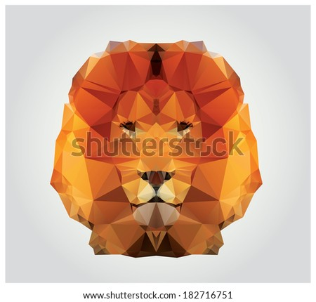Geometric polygon lion head, triangle pattern, vector illustration - stock vector