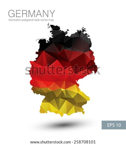 Geometric polygonal design vector map of Germany. Geometric Germany flag overlay on  Germany map. - stock vector