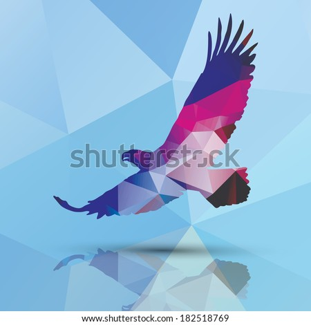 Geometric polygonal eagle, pattern design, vector illustration - stock vector