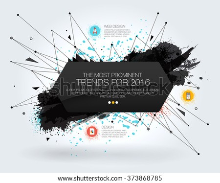 Geometric Polygonal Elements. 3D abstract background with paint stain and geometric shapes. Template with Icons and Options. Flyers, posters. Vector design layout for business presentations. - stock vector