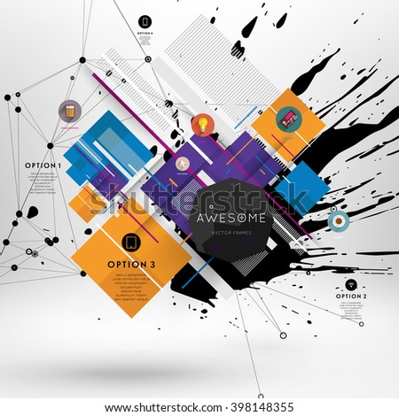 Geometric Polygonal Elements. Scientific Future Technology Concept. Template with Icons and Options. Infographic Elements. Design Layout for Business Cards, Websites, Presentations, Flyers and Posters - stock vector