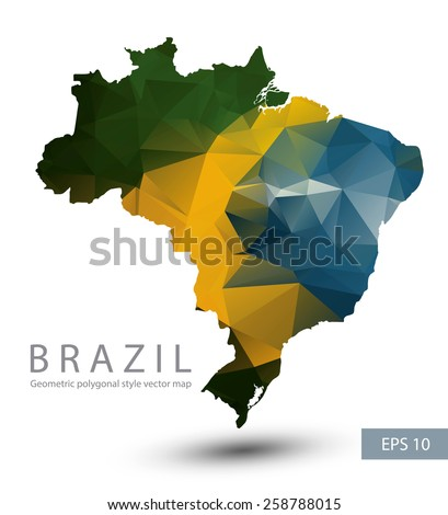 Geometric polygonal style vector map of Brazil. Brazil flag overlay on Brazil map with geometric polygonal. - stock vector