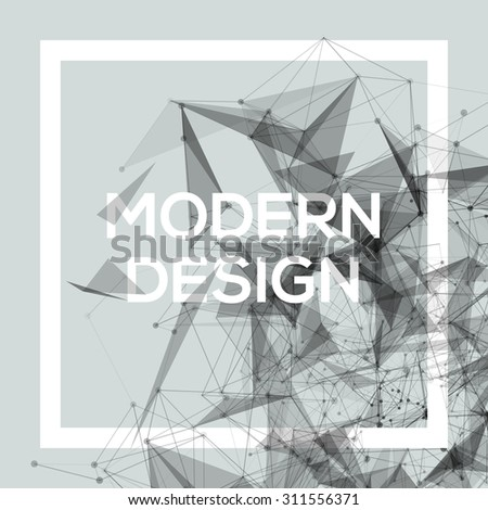 Geometric Poster Template with transparent polygons, lines, connecting nodes. Cool grey shades, vector design - stock vector