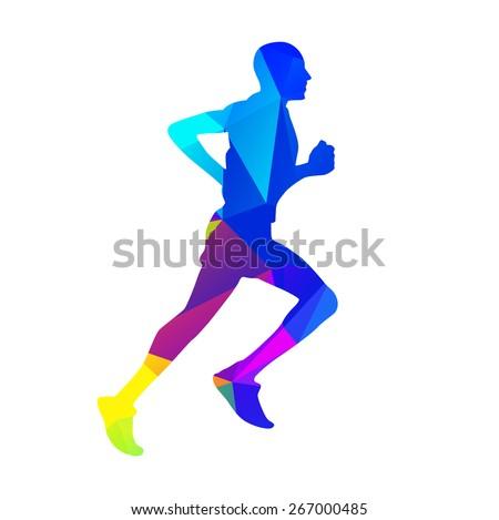 Geometric runner. Vector silhouette - stock vector