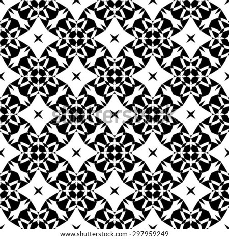 Geometric seamless black and white background - stock vector