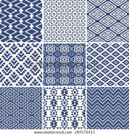 Geometric seamless ethnic background collection in blue and white - stock vector