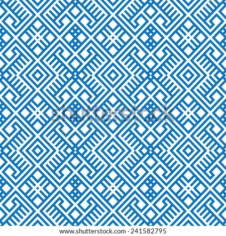 geometric seamless ethnic pattern background in blue and white colors, vector illustration  - stock vector