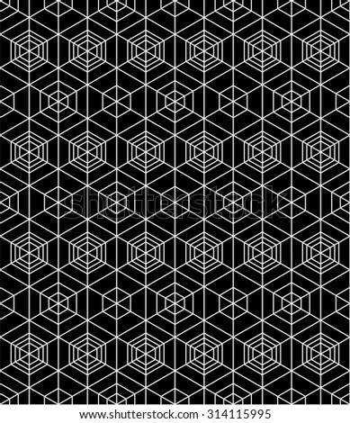 Geometric seamless pattern, endless black and white vector regular background. Abstract covering with cubes and squares.