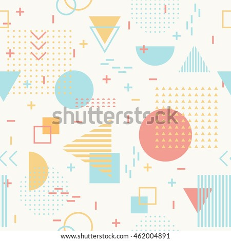 Geometric Seamless Pattern For Fashion And Wallpaper Memphis Style