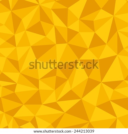 Geometric seamless pattern  from triangles. Yellow vector illustration. - stock vector