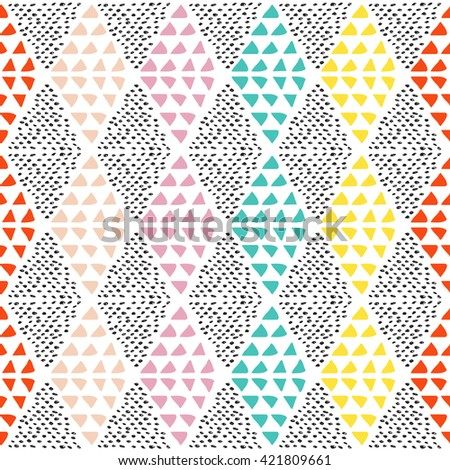 Geometric seamless pattern. Hand drawn elements.Vector illustration.