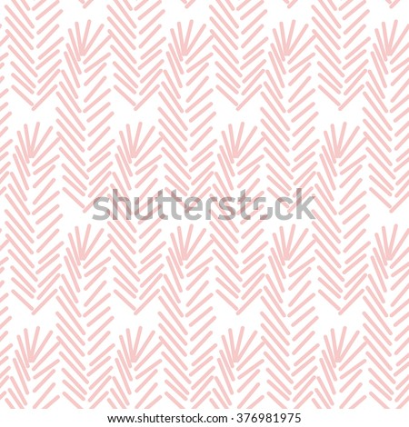 Geometric seamless pattern in color of the year 2016. Abstract simple line branches or feathers design. Rose quartz pastel color.
