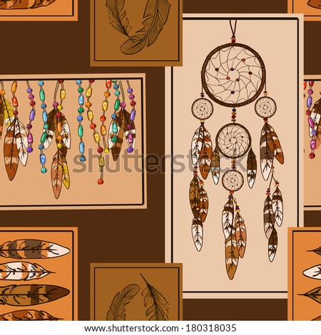 Geometric seamless pattern of American Indians dreamcather and feathers - stock vector