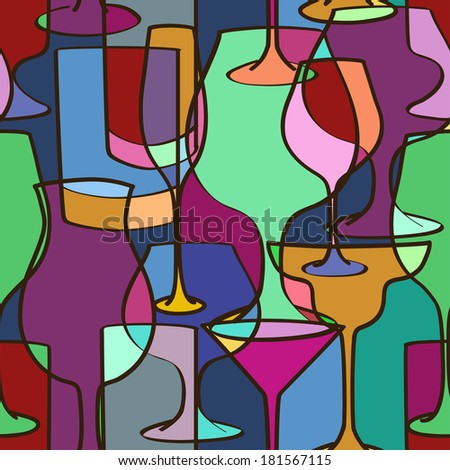 Geometric seamless pattern of colorful glasses - stock vector
