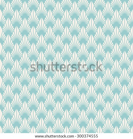 Geometric seamless pattern. Retro background. Ornament with stylized leaves.  - stock vector