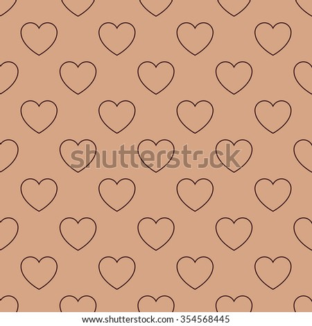 Geometric seamless pattern St. Valentine's Day with dark brown hearts on the light brown background. Modern vector card illustration. - stock vector