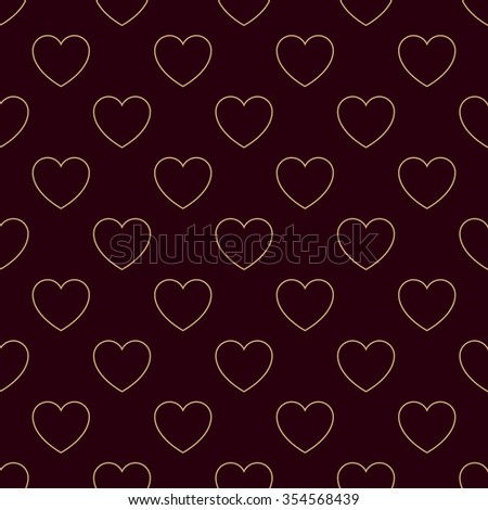 Geometric seamless pattern St. Valentine's Day with light glowing brown hearts on the dark brown background. Modern vector card illustration. - stock vector